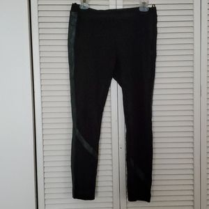 DKNY black jeggings with leather strip